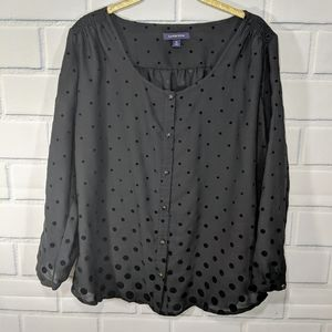 Lands' End Black Blouse W Velvet Dots Jewel Button